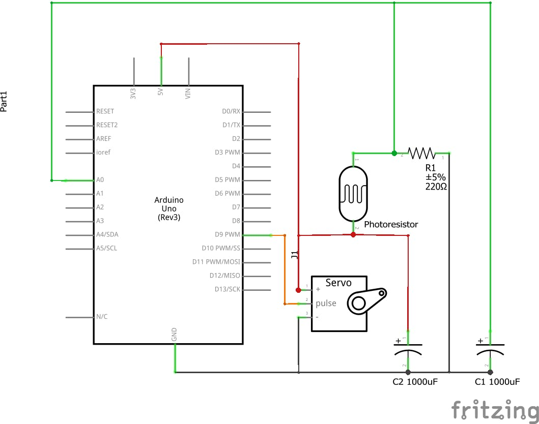 This schematic and breadboard will work with the code attached at the end of the page.