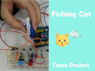 "Arduino campaign project for my adorable cat, ""Fishing Cat"""