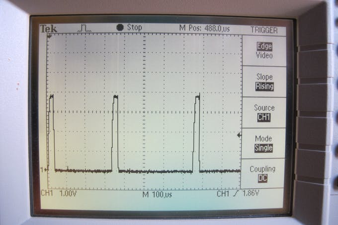 Zooming in shows how narrow the current pulses can be