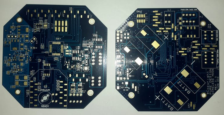 TOP and BOT of 4 layer PCB with ENIG finishing.