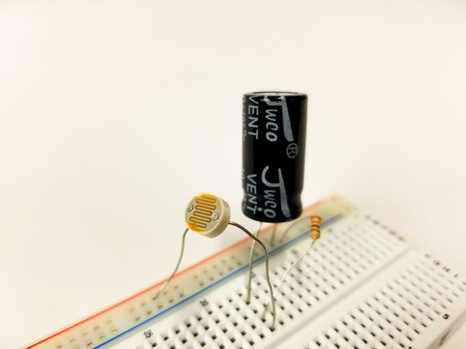 A photoresistor/LDR in a typical voltage divider configuration