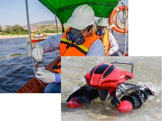 Autonomous Boat for Real-Time Air and Water Quality Meter