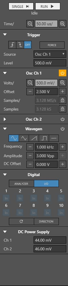 WaveForms Live settings necessary to perform the characterization.