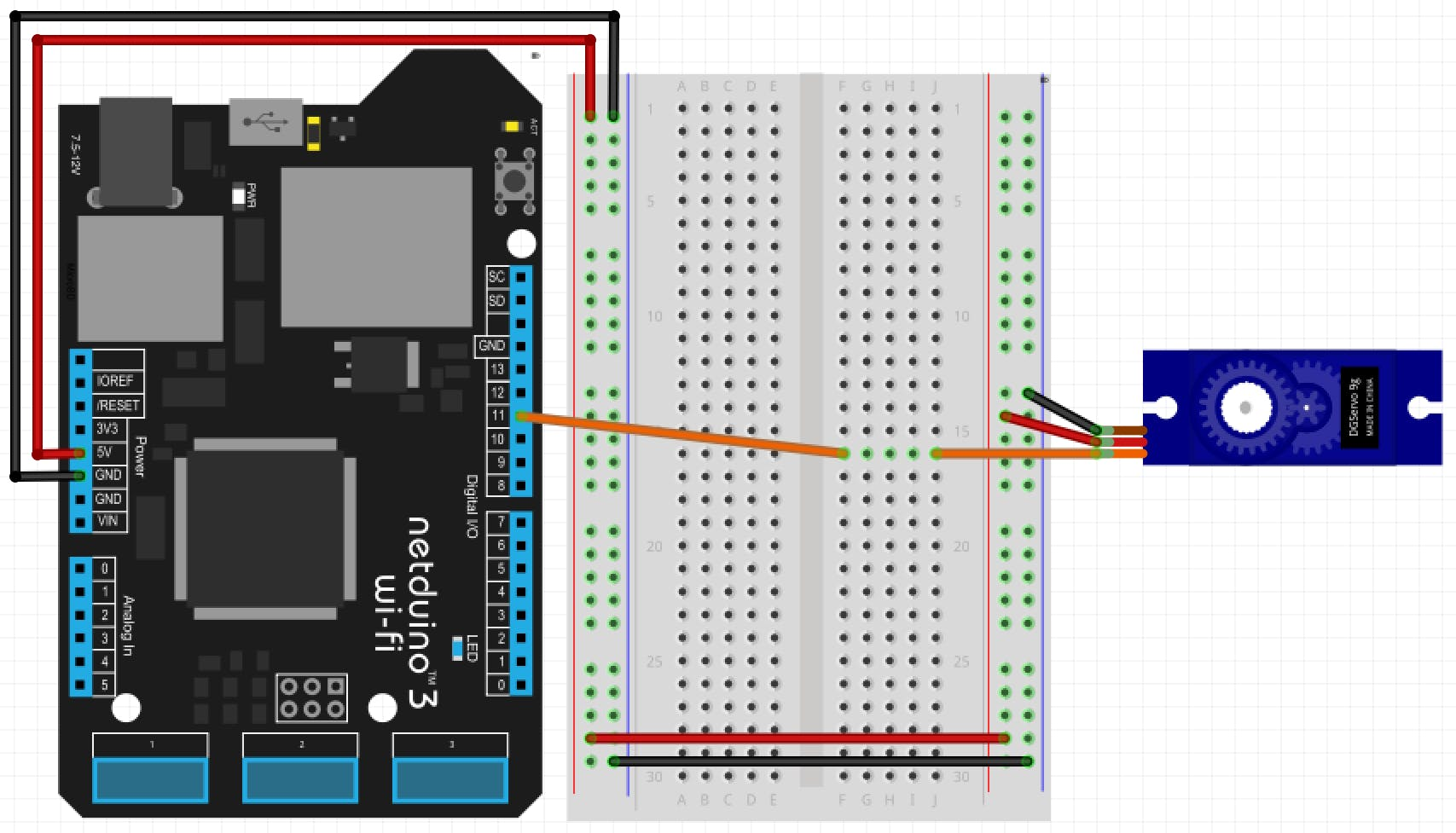 Connecting a servo with a Netduino for testing purposes