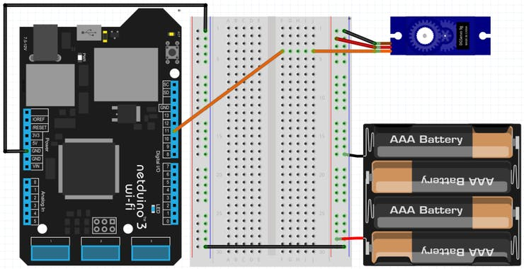 Connecting a servo with a Netduino and an external power source