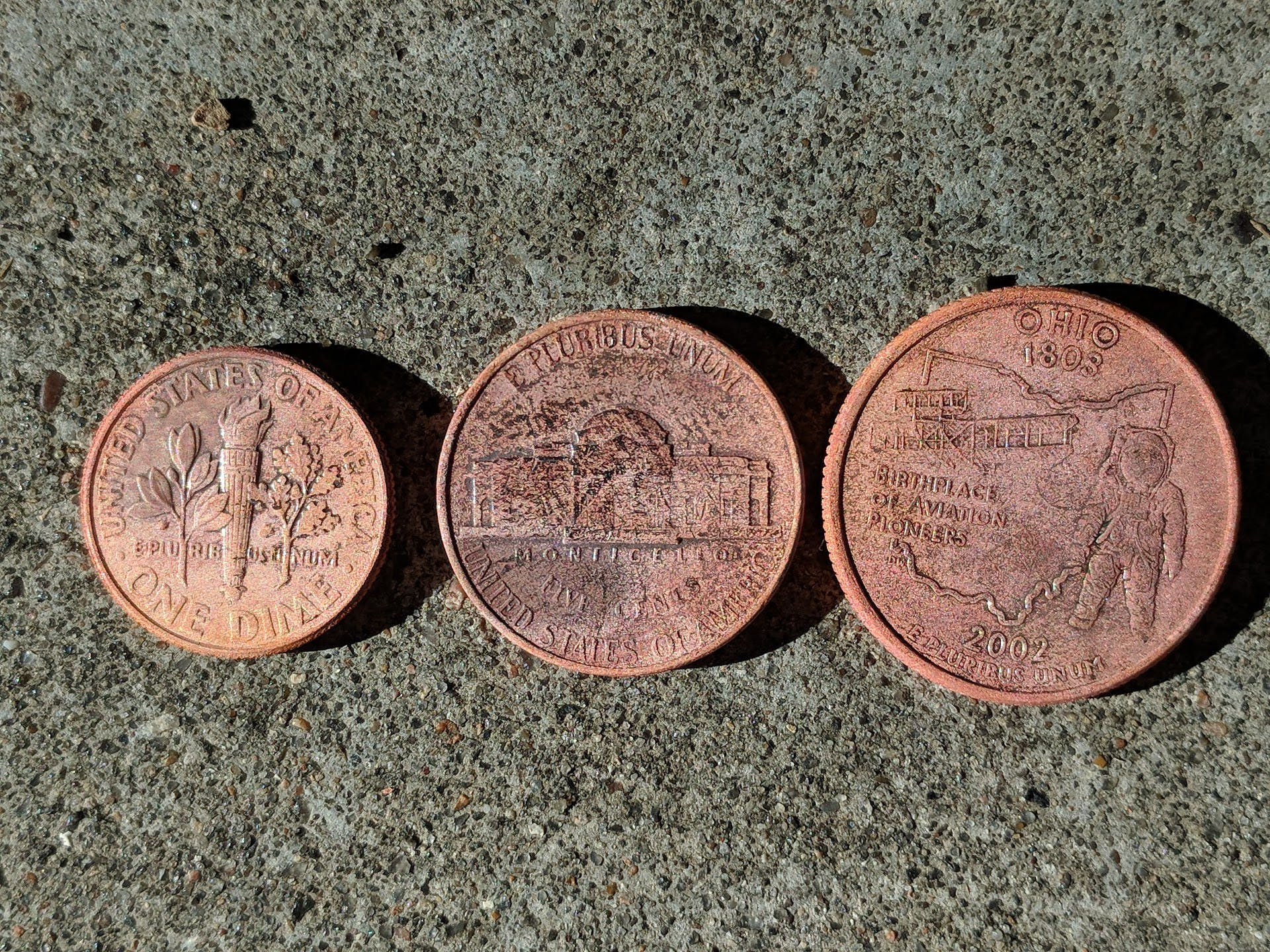 Copper plated coins (back)