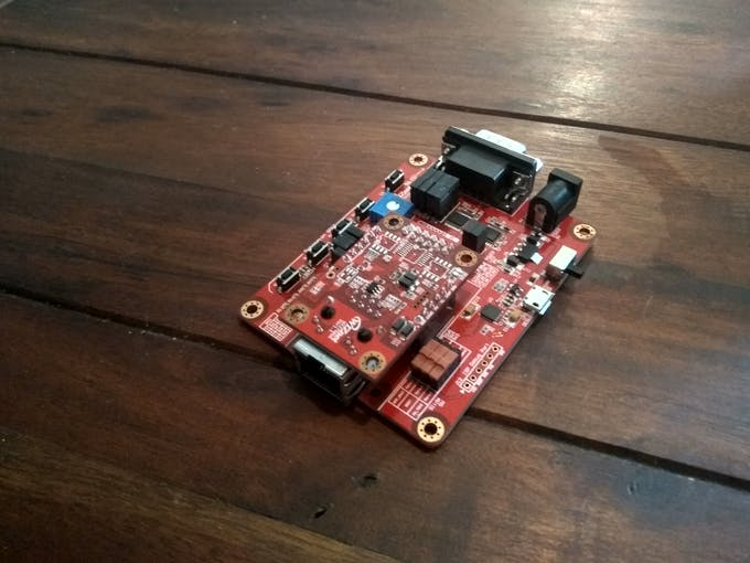 The WIZ750SR in its evaluation board