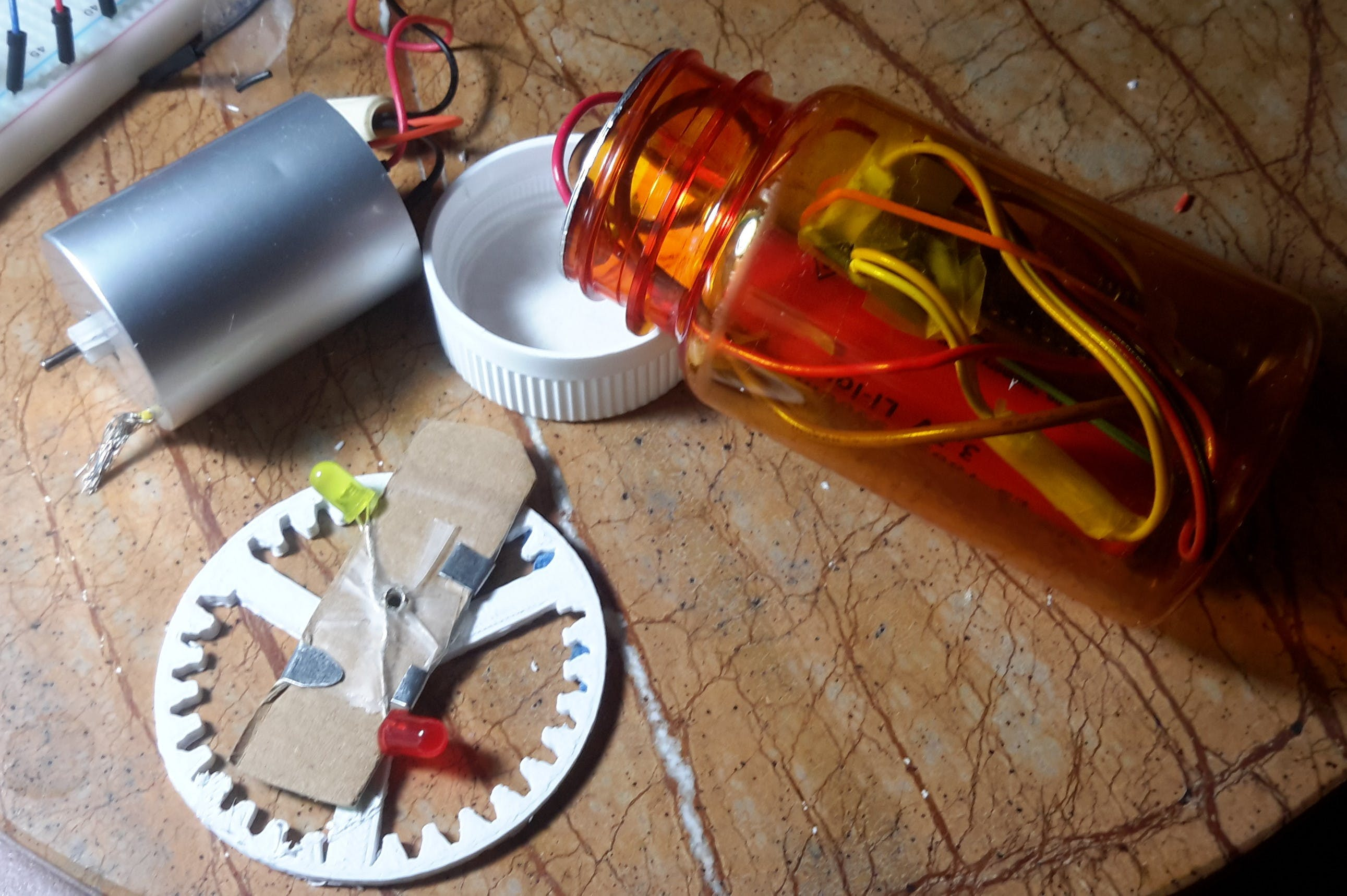 board and single 3.7v 18600 lithium easily fits inside medicine bottle.