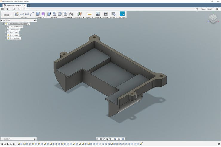Designing the enclosure with Fusion360.