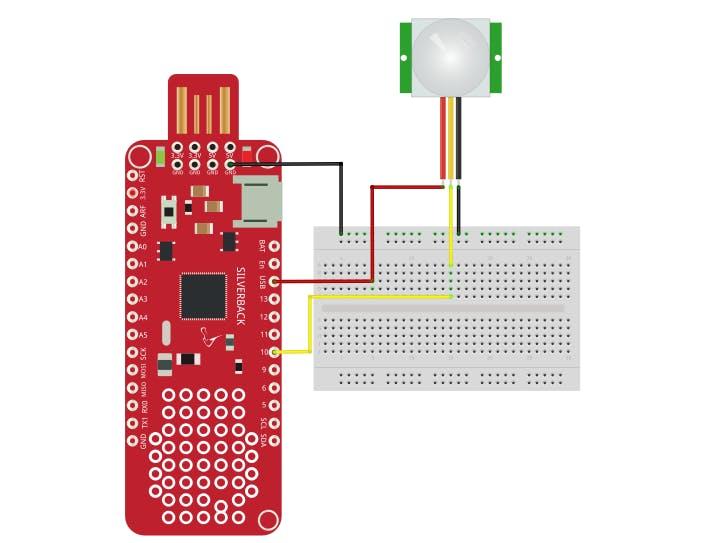 Detect Motion using PIR Motion Sensor and Surilli Basic M0