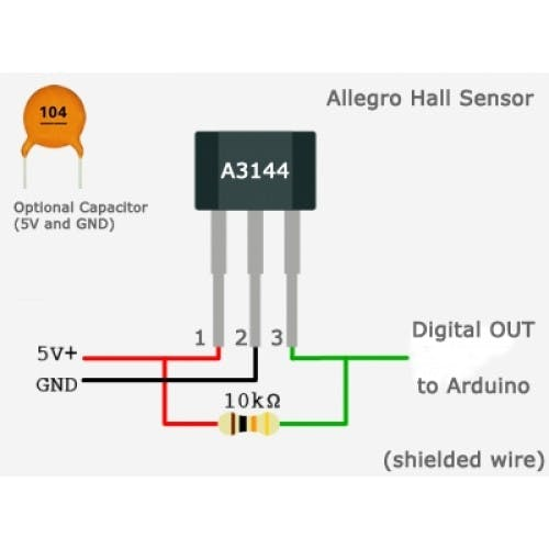 Pinout diagram for hall effect sensor