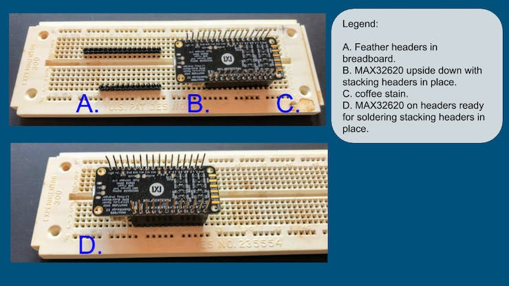 Breadboarding technique for adding stacking headers.