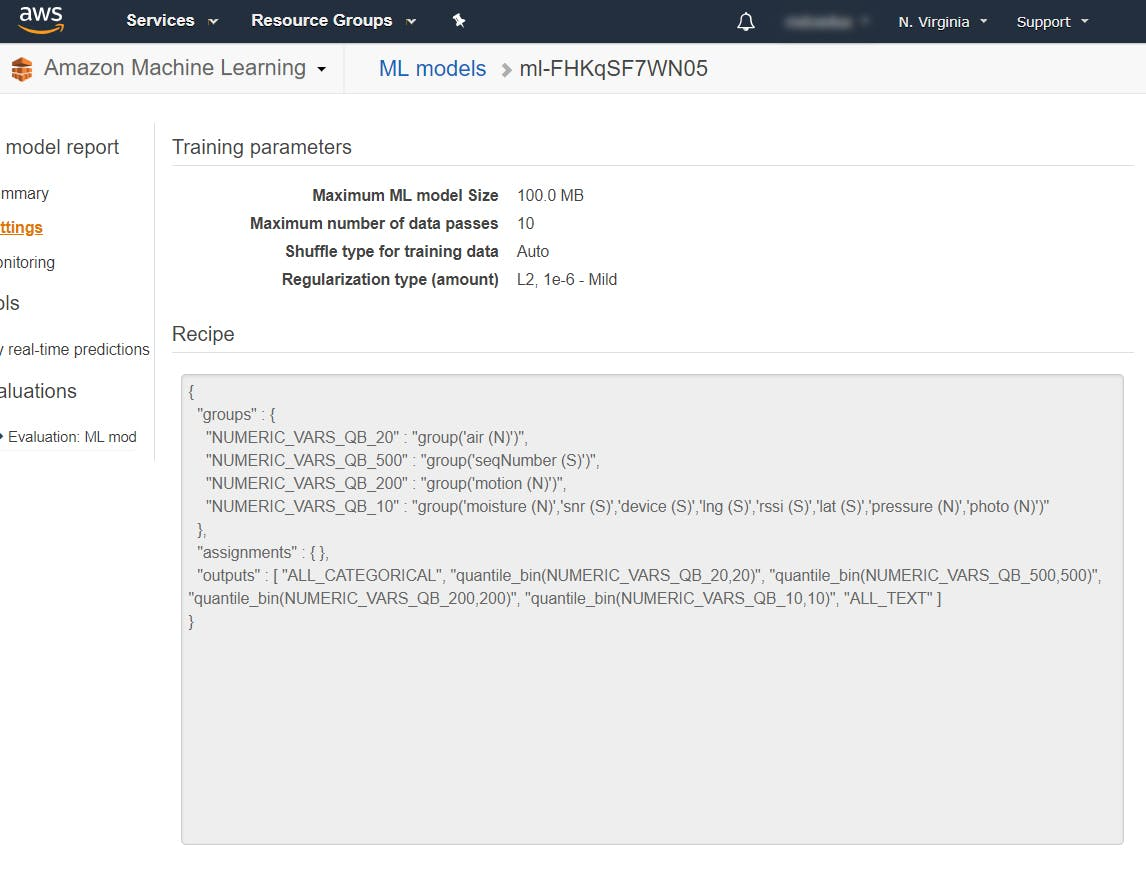 AWS Machine learning model settings