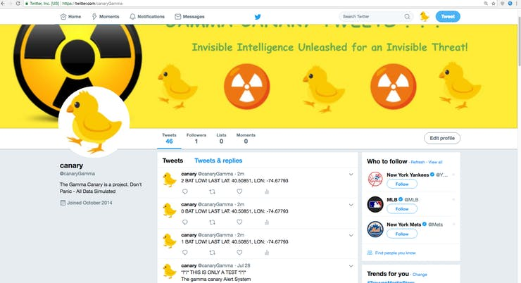 And here's what the gamma canary twitter feed looks like receiving this messages