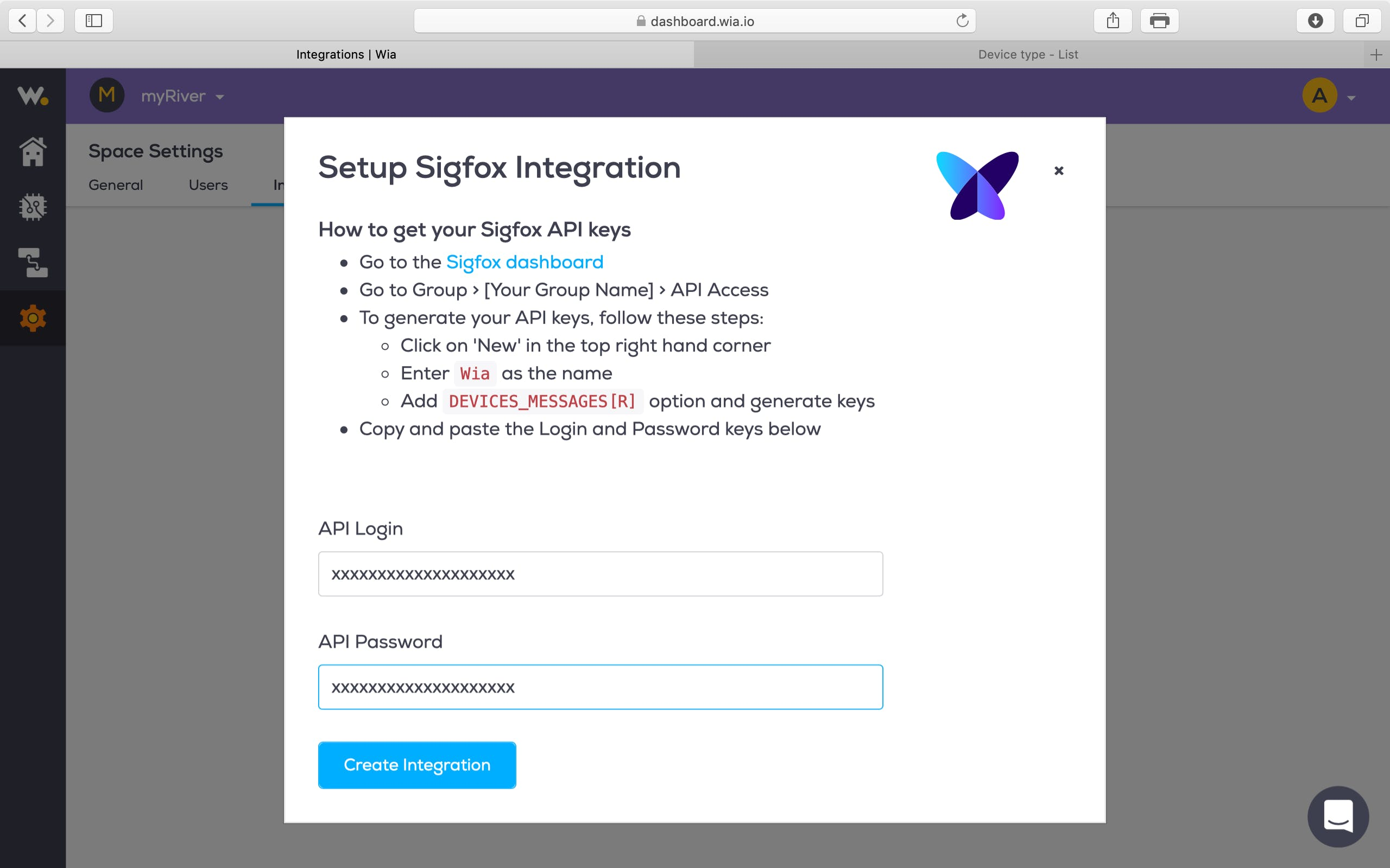 In the Wia window, paste the Login and Password from the SigFox API Access