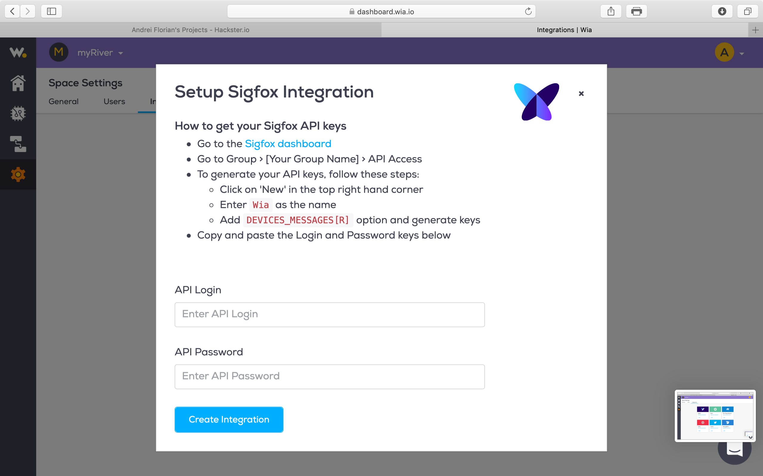 Now you will be redirected to the fallowing window, we will have to work with SigFox now