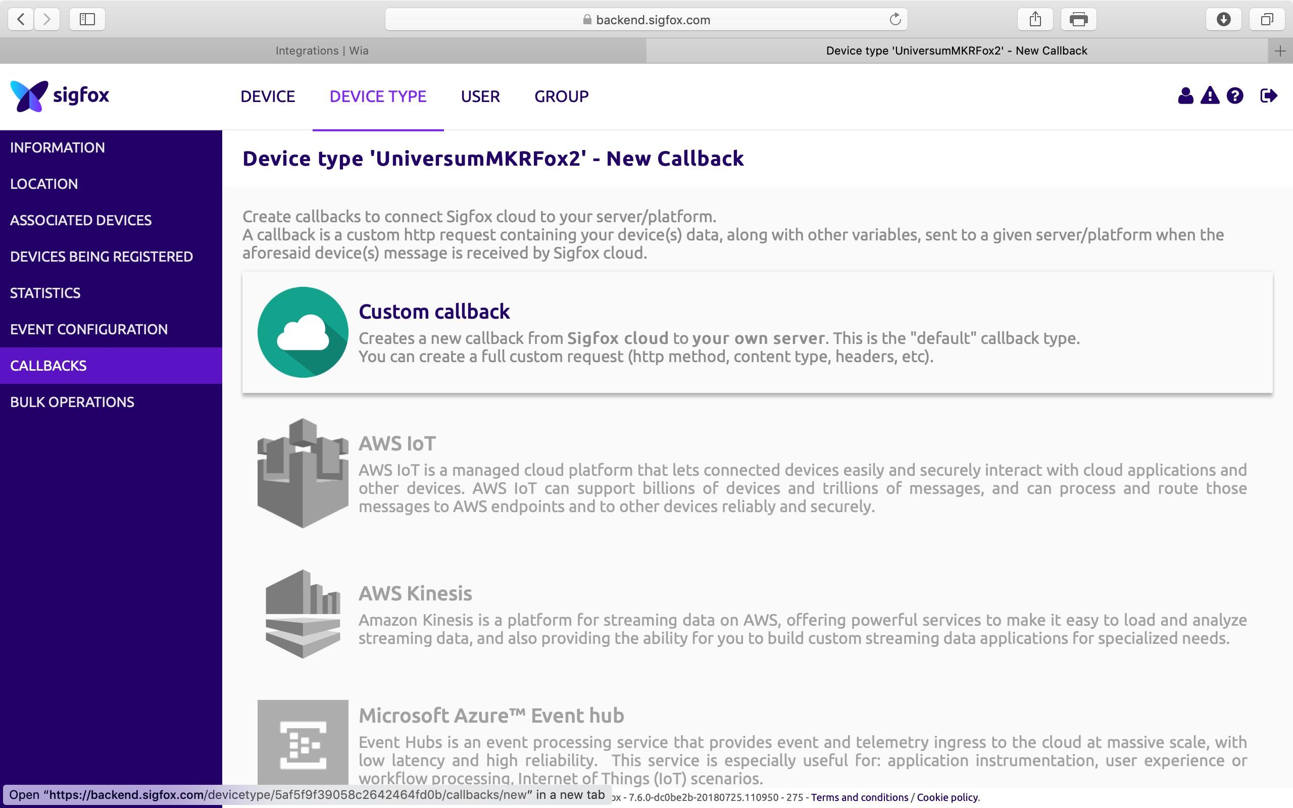 "Select ""Custom Callback"" from the net window"