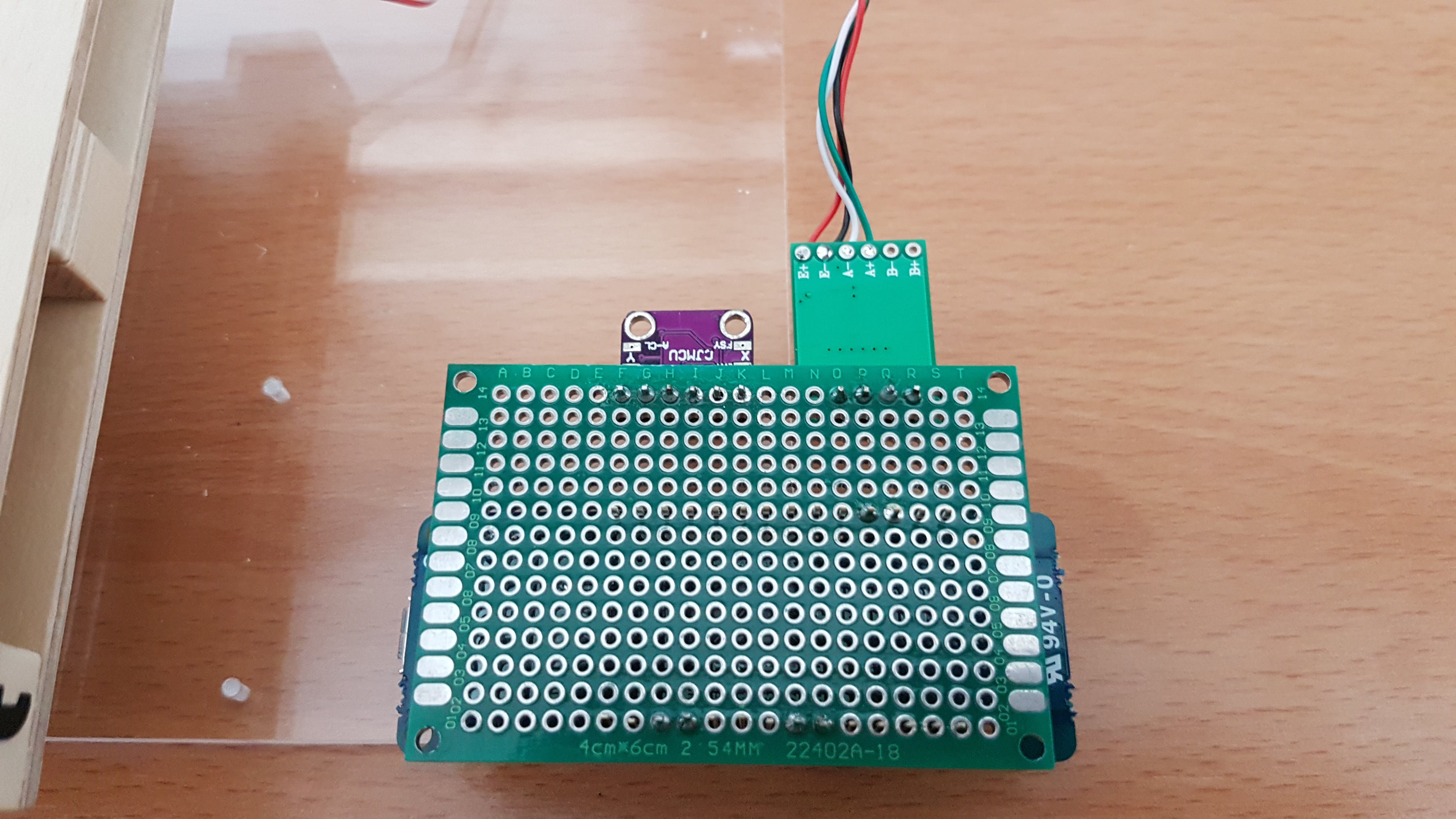 Soldered connections of Arduino MKR FOX 1200 and the sensors used to the double-sided PCB