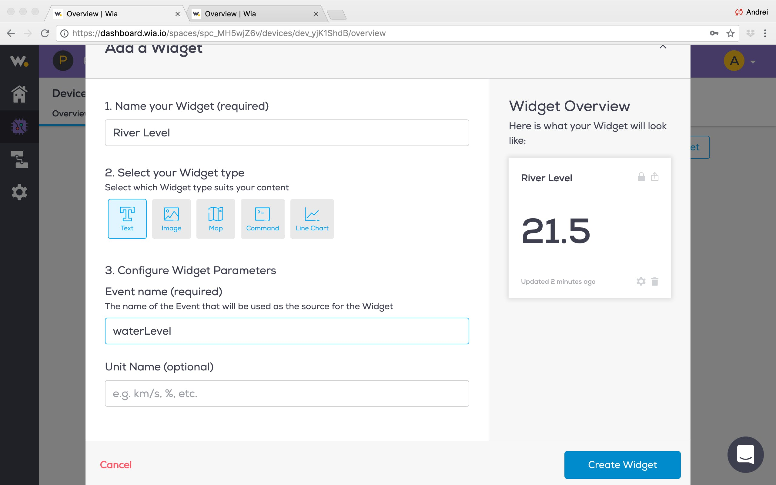 """In the next window, set the fields as illustrated in the image above, click """"Create Widget"""""""