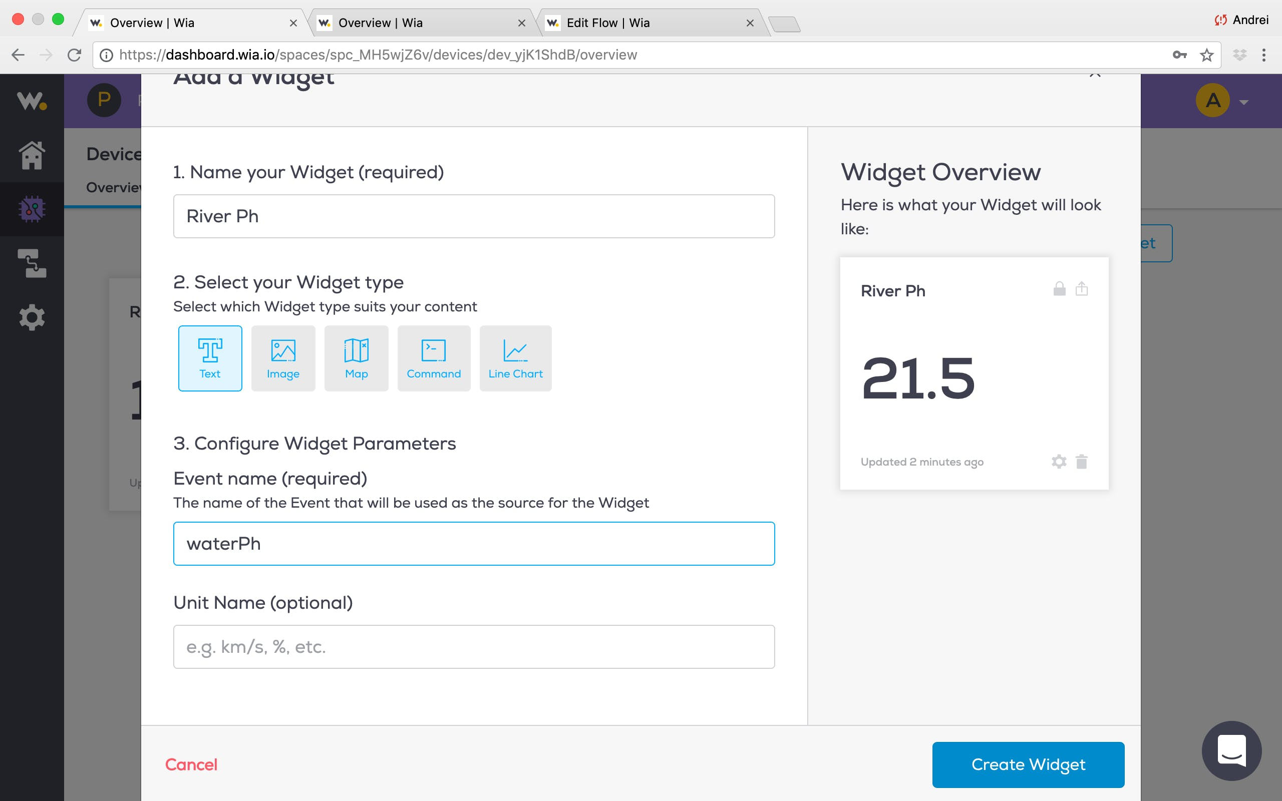 "Click the ""New Widget"" button again and configure another widget as described in the image"