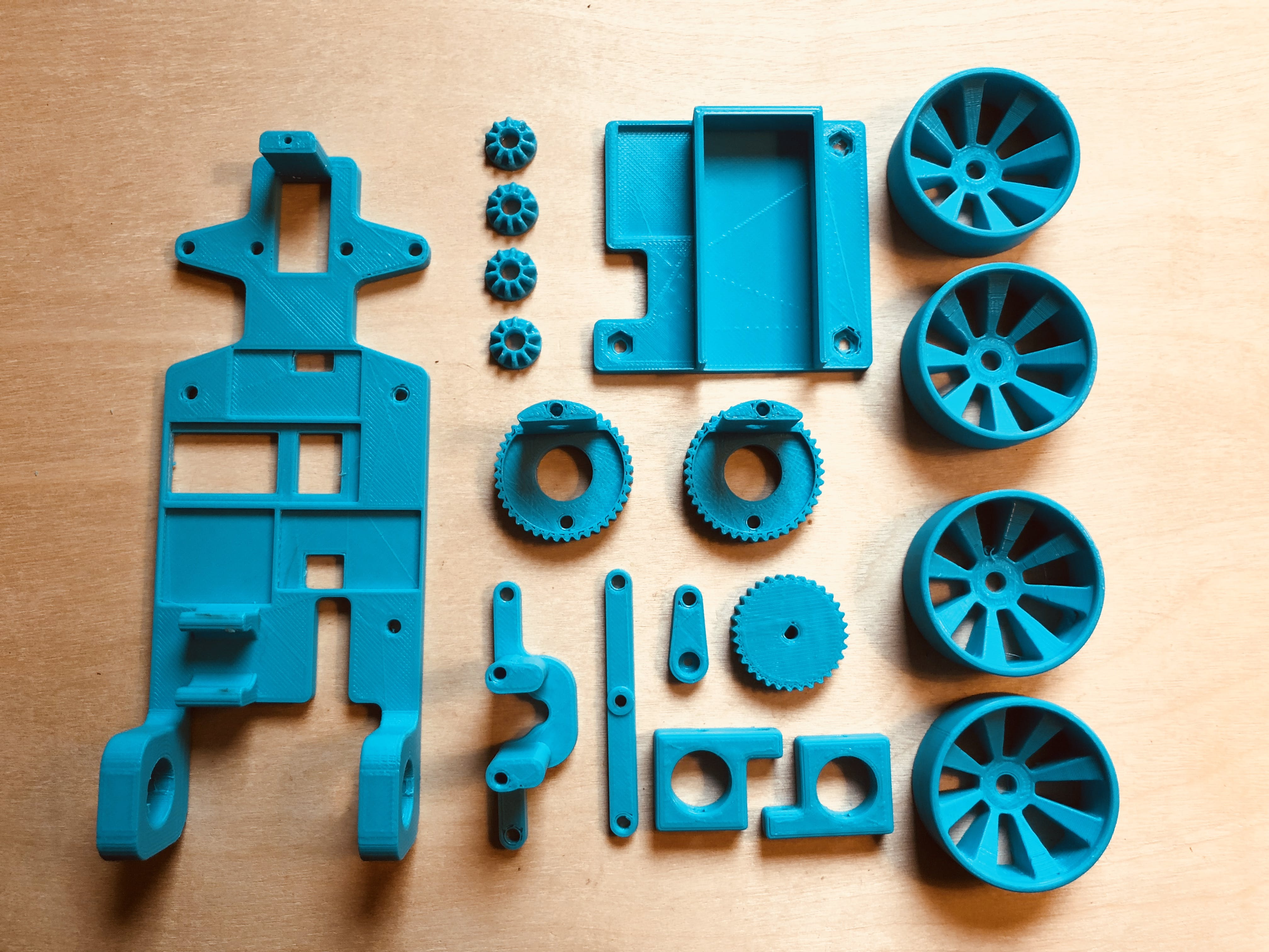 All printed parts required for a car. (Excluding the Axle Spacers... they were added later)