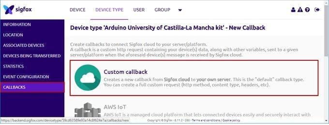 New custom callback in Sigfox backend
