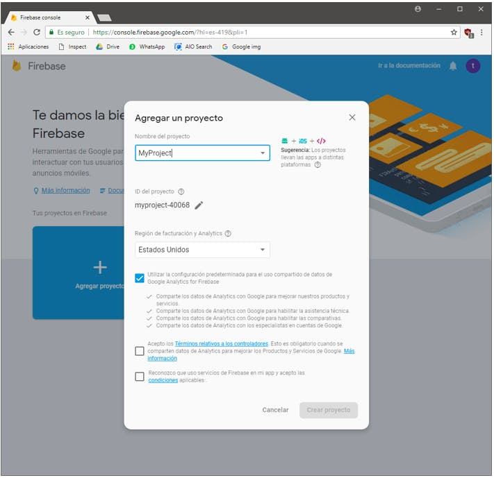 Accepting the conditions to create the Firebase project