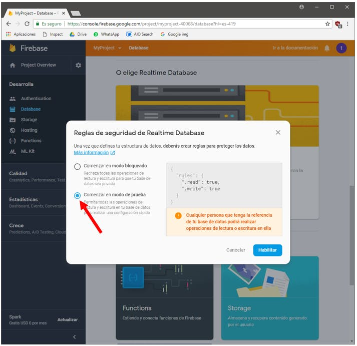 Security rules definition in Firebase (testing mode)