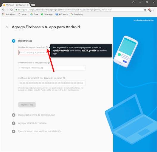 Registering a new app in Firebase