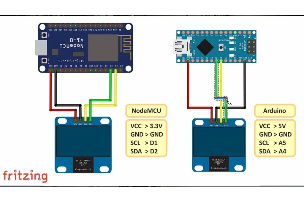 I2C OLED Display Using Arduino/NodeMCU - Hackster io
