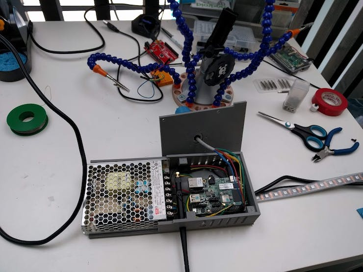 Just before closing it. We used an NXP board for this one, instead of the Pi, but both boards work
