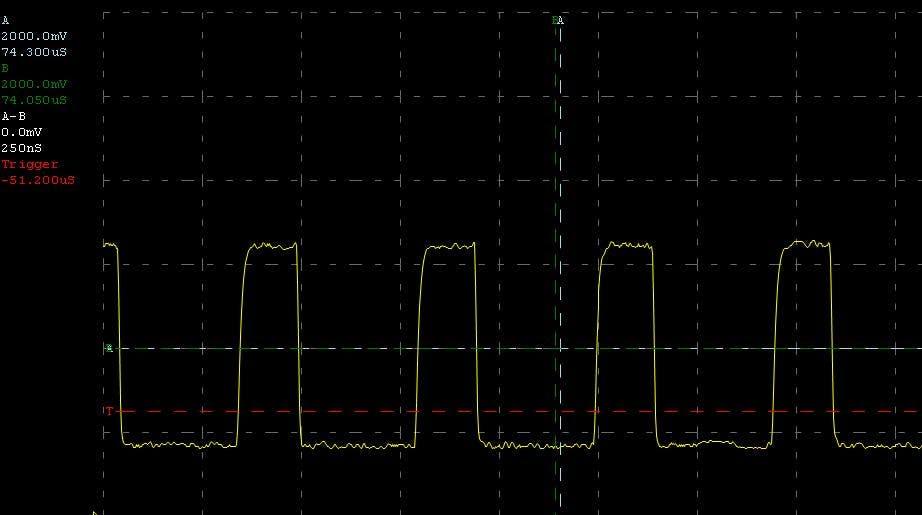 100KHz with 1k5 pullups at 5uSec per division
