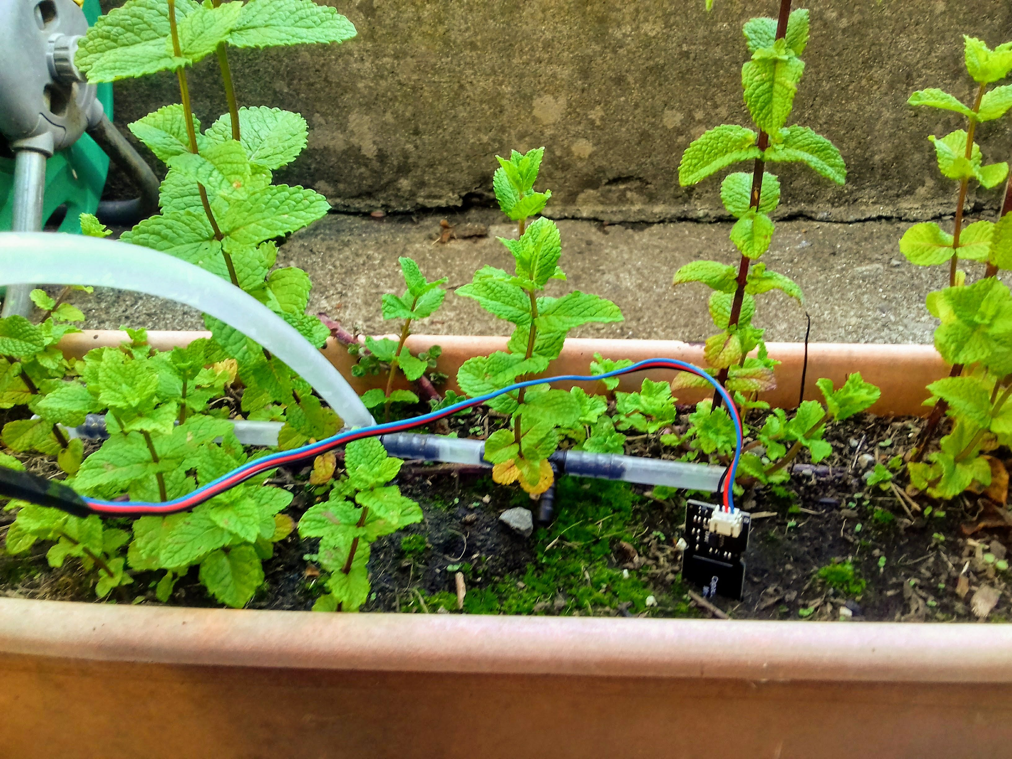 Piping and capacitive soil moisture sensor