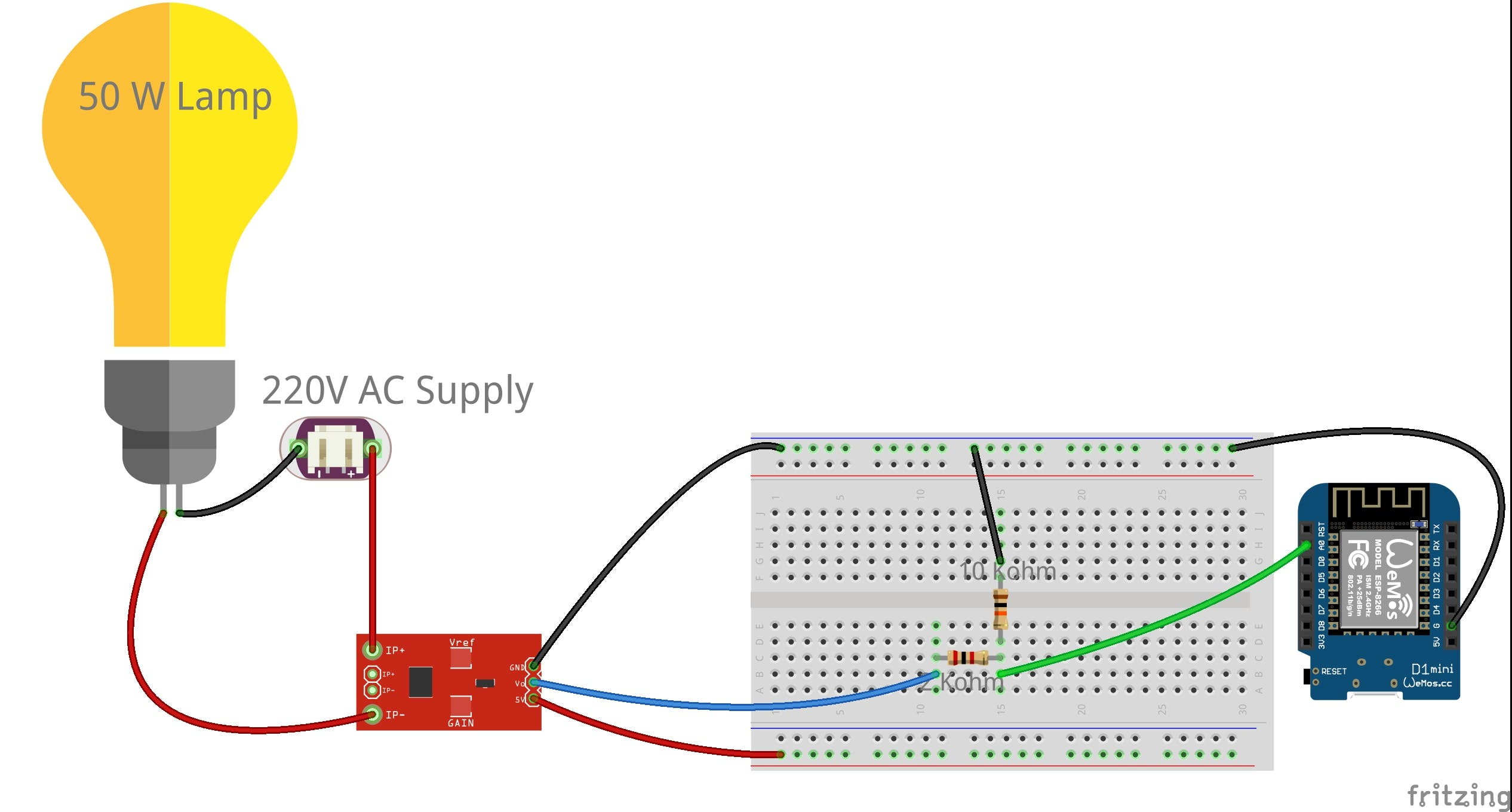 ACS712 connection diagram with Wemos D1 mini and Resistor divider