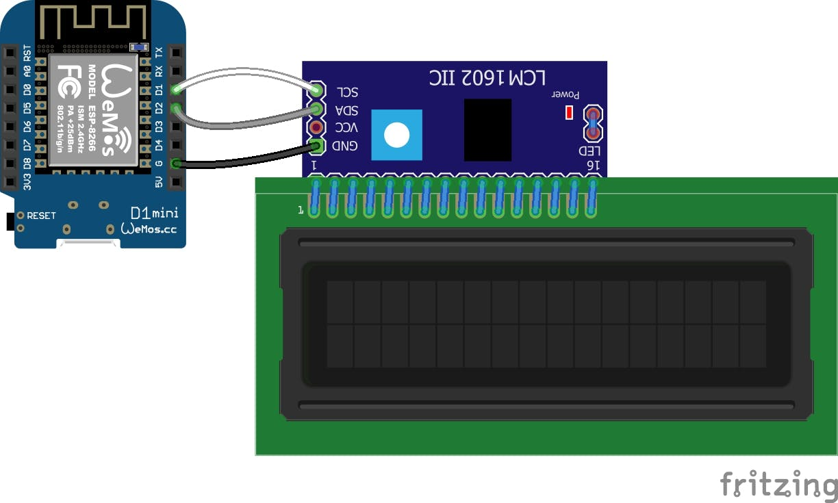 16 X 2 LCD connection with I2C LCD Daughter Board Module & Wemos.