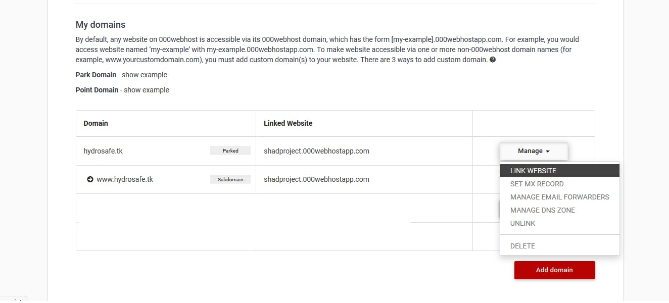 Linking the default website after parking the domain