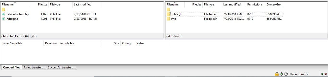 File navigator section of the FileZilla main window