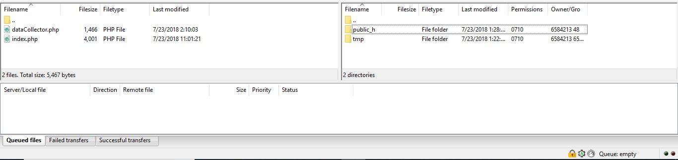 File navigator section of the FileZilla main window