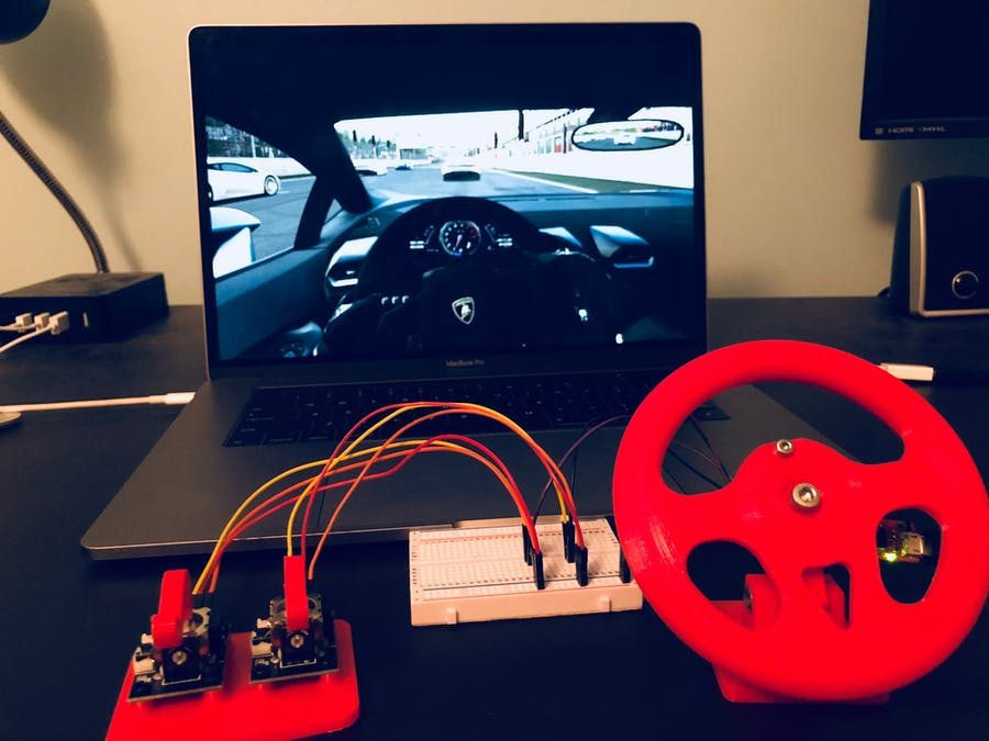 Mini Gaming Wheel with Gas / Brake Pedals