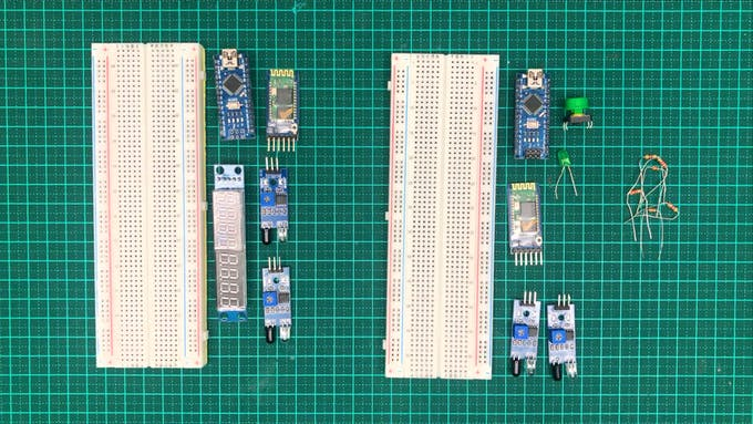 All parts next to their respective breadboards