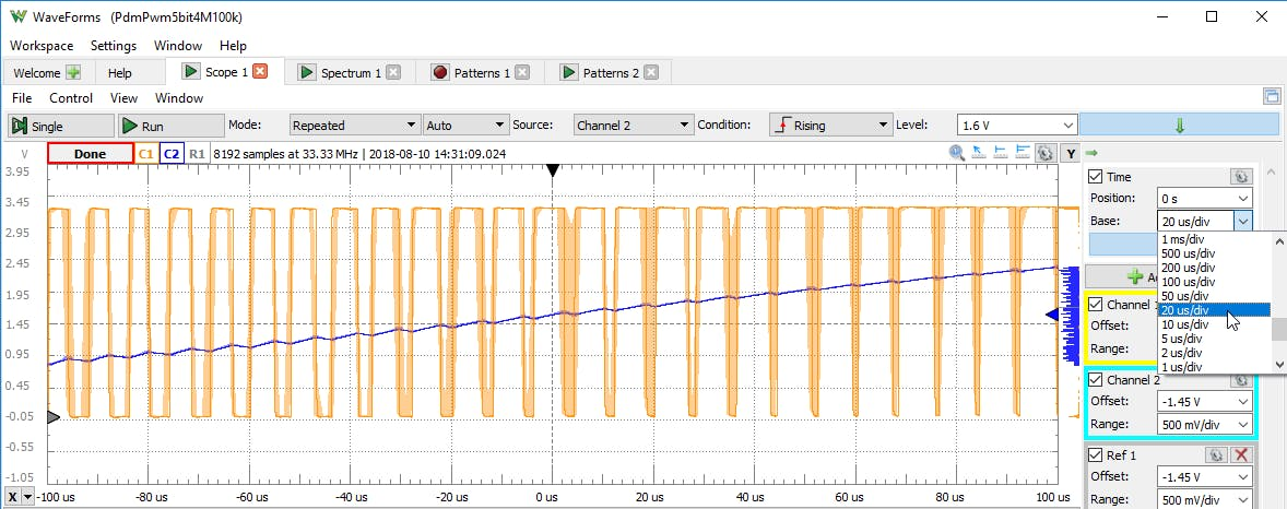 Scope view of PWM in WaveForms Workspace 2. Notice, again, how the frequency is constant. However, at a higher clock frequency, the demodulated signal contains much less ripple voltage than the previous clock rate approaching a better approximated sine wave.