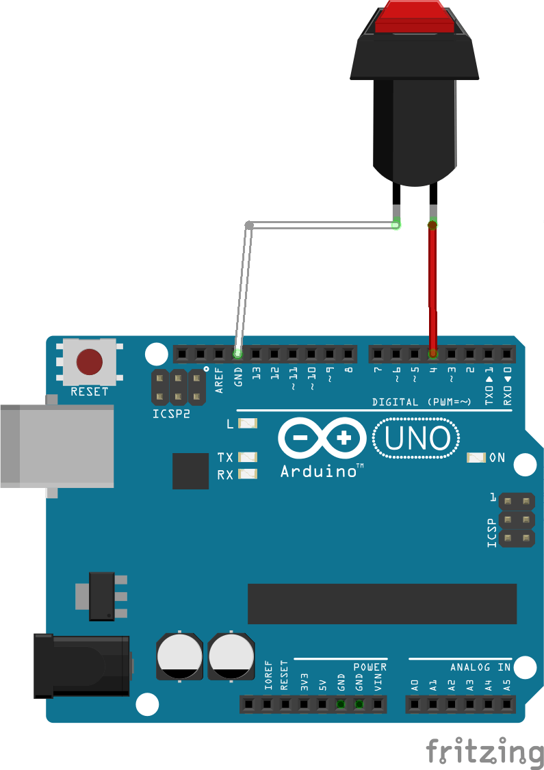 C. Diagram of connection of the button on the board.