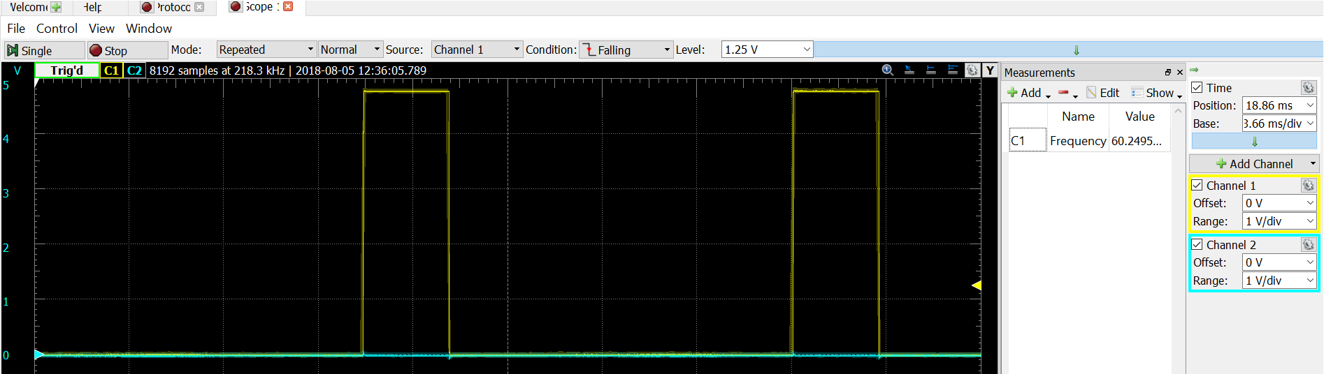 Servo PWM output - showing 60 Hz timing