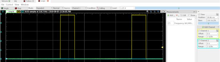 Servo PWM output - showing 60 Hz timing