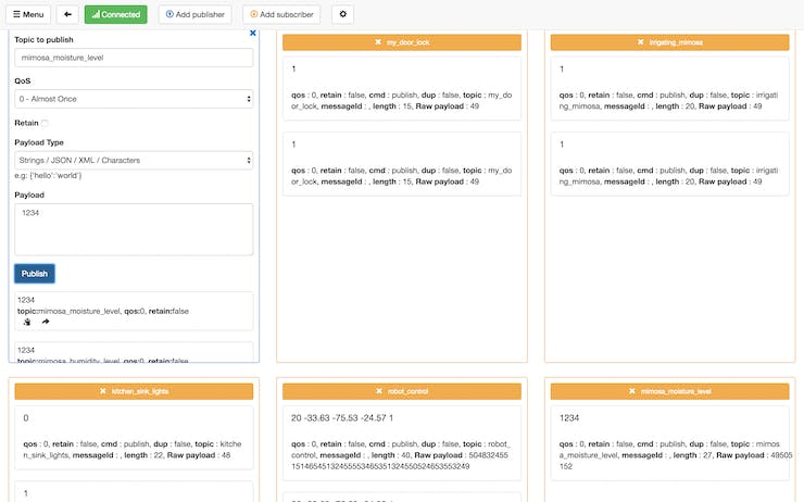 Publishing to a topic while subscribed for multiple topics in MQTTBox