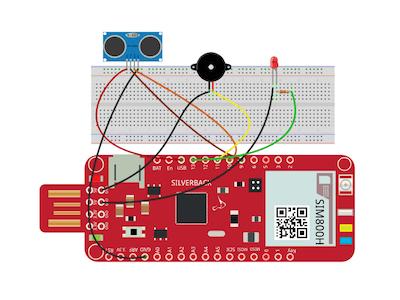 Ultrasonic Sensor with LED and Buzzer Using Surilli GSM