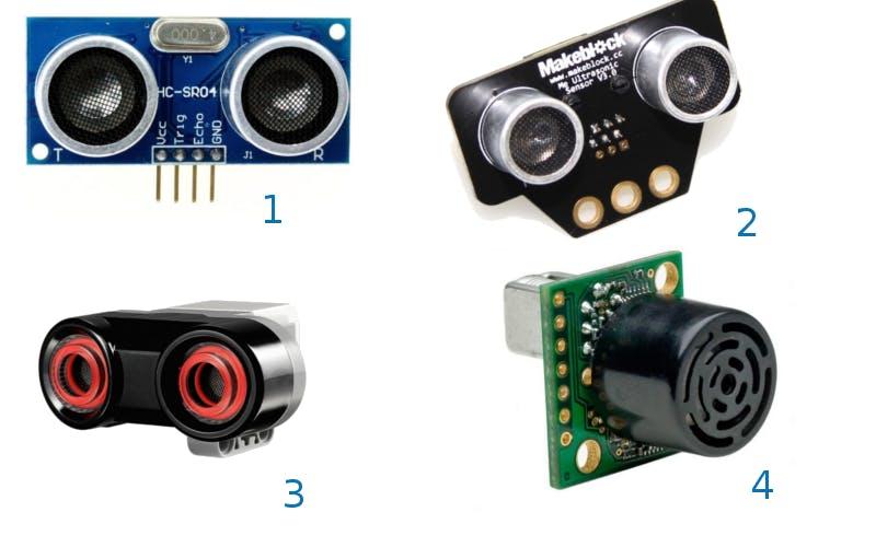 Various ultrasonic sensors – 1: Sensor suitable for Arduino and Raspberry pi, 2: Sensor for MakeBlock, 3: Sensor for Lego EV3, 4: Sensor with transmitter and receiver in the same housing.