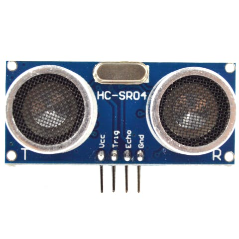The HC-SR04 ultrasonic sensor. The transmitter is on the left and the receiver on the right.