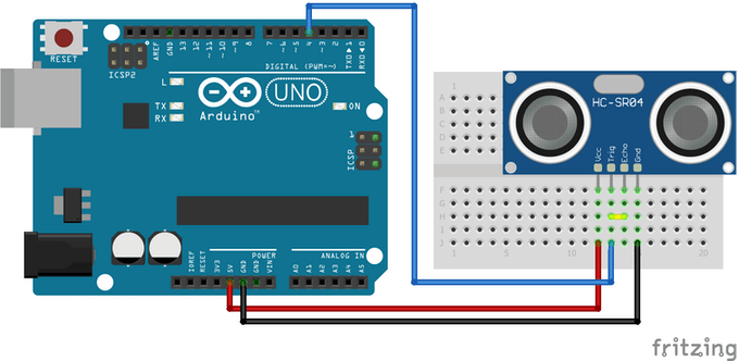The easy way. Connect TRIG and ECHO to the same digital pin, in this example pin 4.