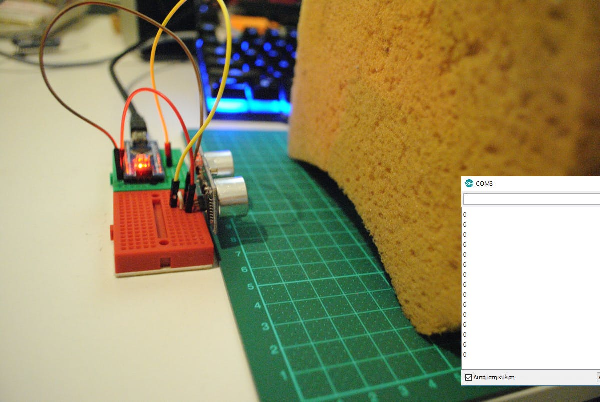 Test 7: Even at 5 cm the sponge absorbs the ultrasound.